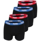 PUMA Herren Basic Boxer Boxershort 4er Pack blau/rot/blau/rot 505 - L -